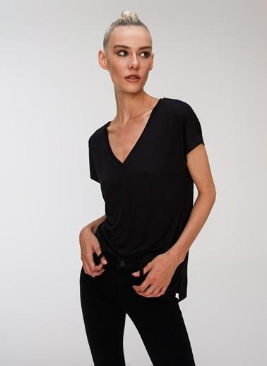 People By Fabrika Basic Viskon Tişört Siyah